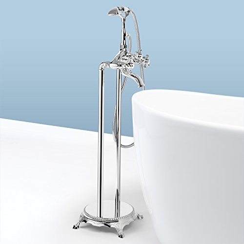 AKDY 8713 Contemporary Freestanding Floor Mount Bath Tub Filler Faucet Spout Single Handle with Handheld Shower Head, Polished Chrome