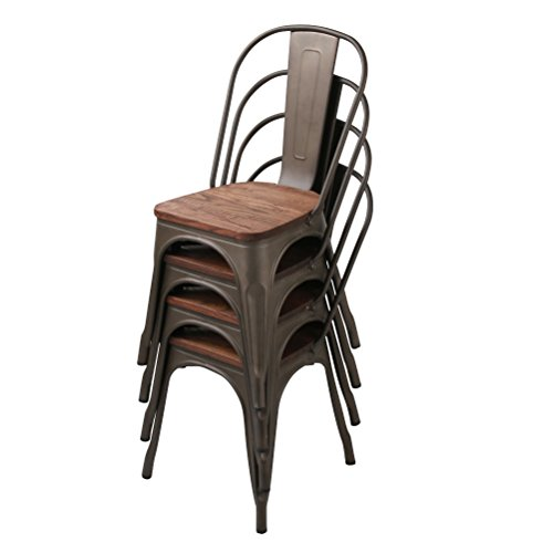 Pack of 4 Metal�Dining�Room�Chairs�Indoor-�Outdoor�Side�Chairs Gunmetal with Wooden Seat, Rusty with Wooden Seat
