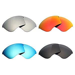 Mryok 4 Pair Polarized Replacement Lenses for Oakley Half Jacket XLJ Sunglass - Stealth Black/Fire Red/Ice Blue/Silver Titanium