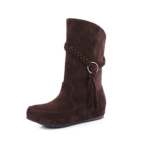 Allhqfashion Women's Imitated Suede Low-Top Solid Pull-On Low-Heels Boots Brown Lnk7z