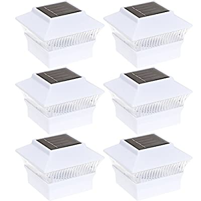 (6 Pack) Solar Power Square Outdoor Garden Deck 4 x 4 PVC Fence Post Light