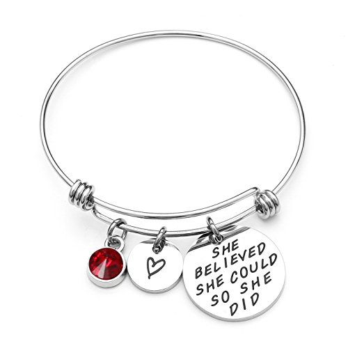 July Girls Charm - AISHOW She Believed She Could So She Did Inspirational Birthstone Charm Expandable Stainless Steel Bangle Bracelet - Birthday Gifts for Women Girls (07-July Ruby)