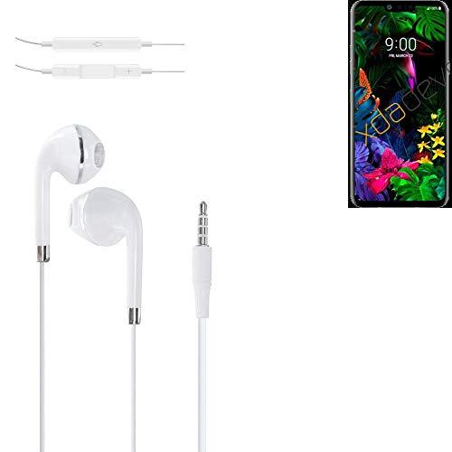 K-S-Trade Kopfhörer Kompatibel Mit LG Electronics G8 ThinQ Mit Mikrofon U Lautstärkeregler Weiß 3,5mm Klinke Kabel…