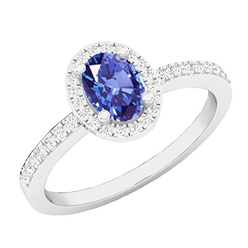 Dazzlingrock Collection 10K 7X5 MM Oval Tanzanite & Round Diamond Ladies Halo Engagement Ring, White Gold, Size ()