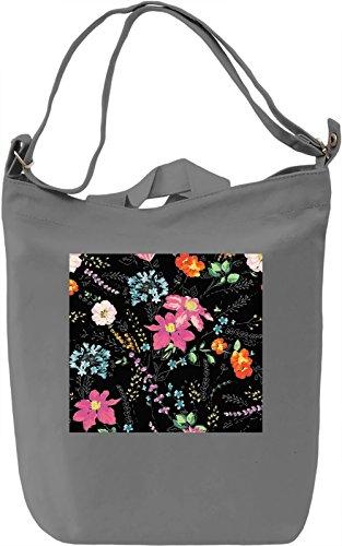 Flowers Pattern Borsa Giornaliera Canvas Canvas Day Bag| 100% Premium Cotton Canvas| DTG Printing|