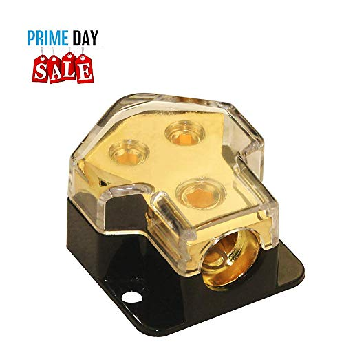 Power Distribution Block Auto Car Audio Amplifier 1 in 3 Ways 0/2/4 Gauge in 4/8 Gauge Out Fuse Holder Circuit Protector Distribution Connecting Blocks (2 Ways)