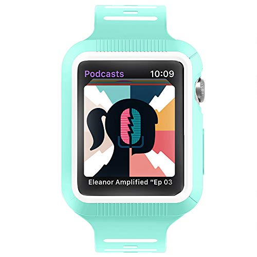 BRG Compatible with Apple Watch Band with Case, Silicone Sport Watch Band with Shock-Proof Protective Case Compatible with Apple Watch Series 3 Series 2 Series 1?Sport and Edition