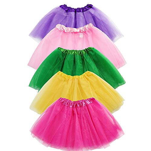 Girls Tutu Skirt Set, Sinuo 5-pack 3 Layer Ballet Dance Tutu Dress with 5-pcs Flower Hairpins Fit Kids Age -