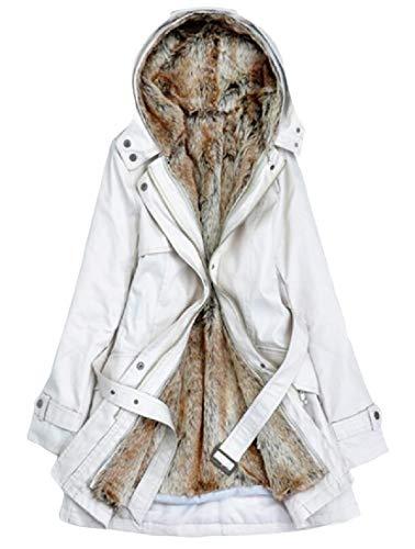 Cappuccio Slim Con Cappotto Felpa Bianco Fit E In Women H Warm Parka Pile Capispalla amp; x0wqgIYT8