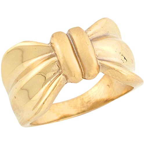 14k Solid Yellow Gold Stylish Ribbon Bow Beautiful Ladies Ring 14k Yellow Gold Ribbon