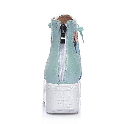 Amoonyfashion Da Donna Con Cerniera A Punta Aperta In Tacco Di Gattini Color Sandali Assortiti Blu