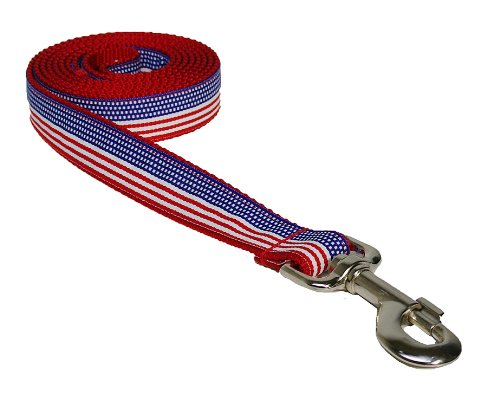 "Medium American Flag Dog Leash: 3/4"" wide, 6ft length - Made in USA."
