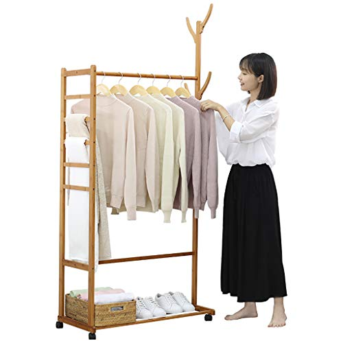 coat stand Multi-functional bamboo wood coat rack removable