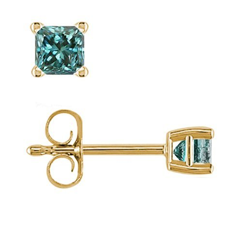 PARIKHS Princess cut Blue Diamond Stud AAA Quality in Yellow Gold (0.10ct)
