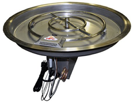 13'' Round Fully Assembled Fire Pit-120 vac Power Type, Remote on/off by Fire On Glass