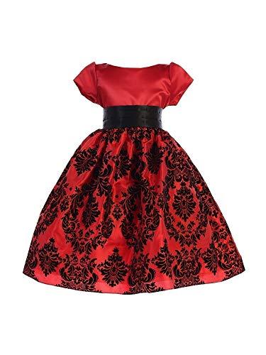 Ellie Kids Little Girls Red Satin Damask Taffeta Flower Girl Dress -