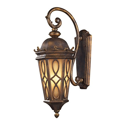 Alumbrada Collection Burlington Junction 3 Light Outdoor Wall Sconce In Hazlenut Bronze And Amber Scavo Glass