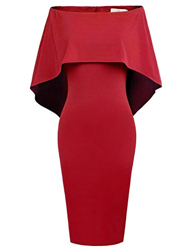 GRACE KARIN Women Off Shoulder Batwing Cape Midi Dress L Red-1