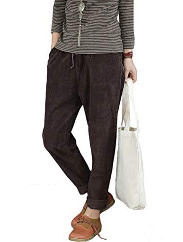 Minibee Women's Casual Corduroy Pants Comfy Pull on Elastic Waist Trousers Drawstring Cotton Pants Coffee L