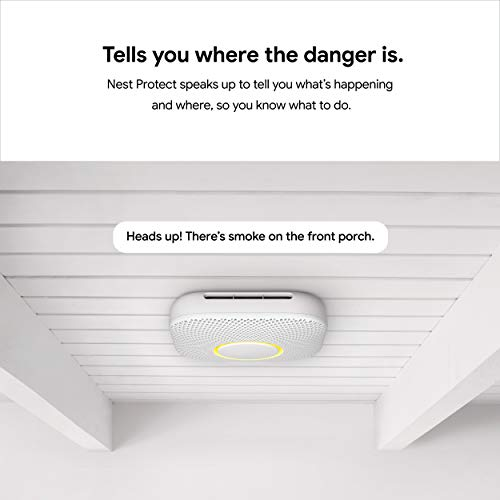 Google Nest Protect - Smoke Alarm - Smoke Detector and Carbon Monoxide Detector - Battery Operated , White - S3000BWES