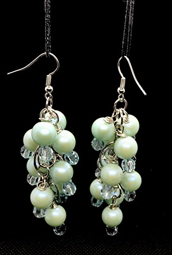 - Aadyasha Creations, Handmade and crafted multiple bluish green faux pearl and acrylic beads, Bunch of grape designed ear drops.