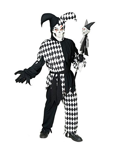 Wicked Chamber Jester Adult Costume Black and White - Large