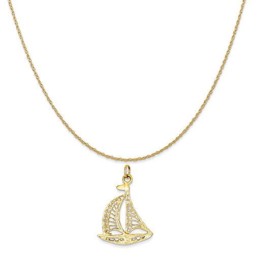 Gold Sailboat - Mireval 14k Yellow Gold Sailboat Charm on a 14K Yellow Gold Rope Chain Necklace, 20