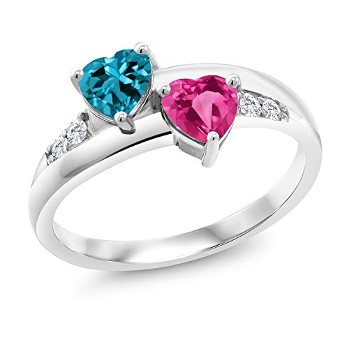 1.23 Ct London Blue Topaz Pink Created Sapphire 925 Sterling Silver Lab Grown Diamond Ring (Size 7)