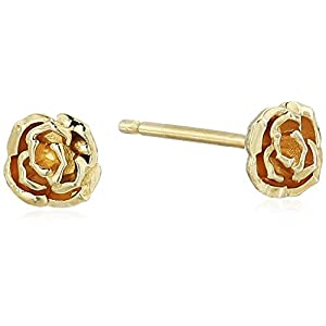 Women's 14K Yellow Gold Rose-Shaped Post Petite Stud Earrings