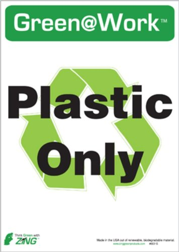 ZING 0031S Eco Label, Recycle Recycled Plastic Only, Recycled Polystyrene Self Adhesive, 7Hx5W, (Plastic Recycling Tilt Truck)