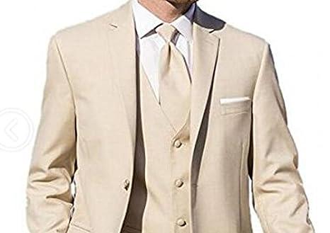 0f3e3731dc6fe8 Men's Khaki 3 Pieces Wedding Suits Sim Fit 2 Buttons Business Suits Groom  Tuxedos at Amazon Men's Clothing store: