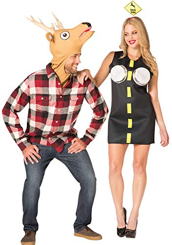 Rasta-Imposta Couples Deer in Headlights Theme Party Outfit Halloween Costume, One -