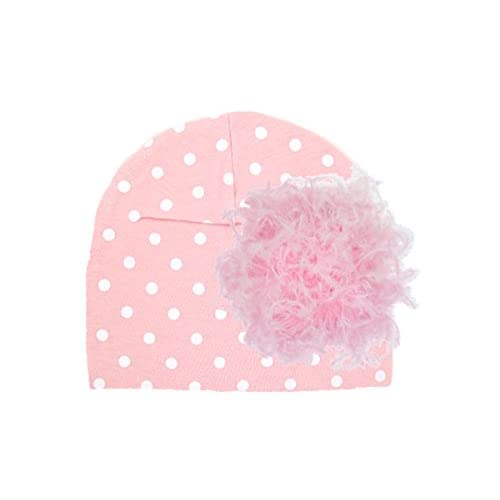 Jamie Rae Hats- Pink White Dot Print Hat with Candy Pink Large Curly Marabou