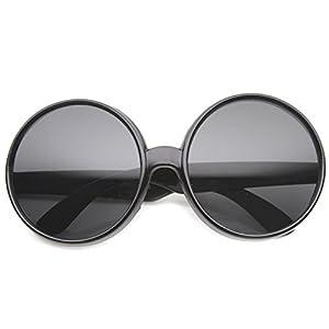 zeroUV - Women's Oversize Mod Fashion Colorful Circular Large Round Sunglasses 65mm (Black / Smoke)