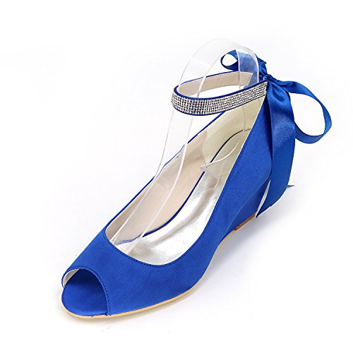 free shipping 100% guaranteed clearance Inexpensive Jiame Women Peep Toe Pumps Mid Heel Rhinestone Ankle Strap Wedges Satin Wedding Bridal Shoes Royal Blue free shipping big discount E9WWVwjs