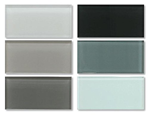 - 3x6 Glass Subway Tile Sample Combo Pack - White, Gray and Blue