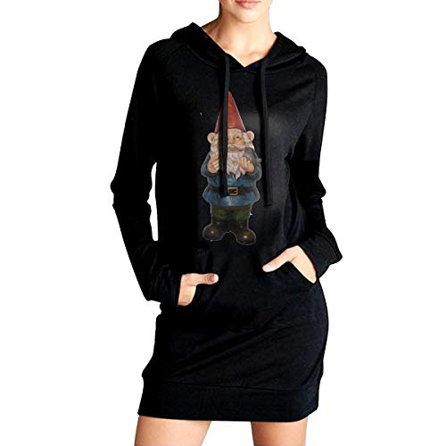Northern Nebula Gnomes Cartoon Women's Long Sleeve Hoodie Tunic Dress Solid Pullover Loose Sweatshirt Long Tops ()