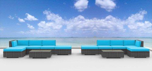 UrbanFurnishing.net 12a-laguna-seablue 12 Piece Modern Patio Furniture Sofa Sectional Couch (Assembly 12 Strand)