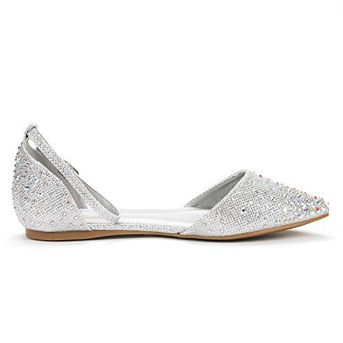 DREAM PAIRS Damen FLAPOINTED-New D'Orsay Ballerinas Schuhe Glanz-Silber