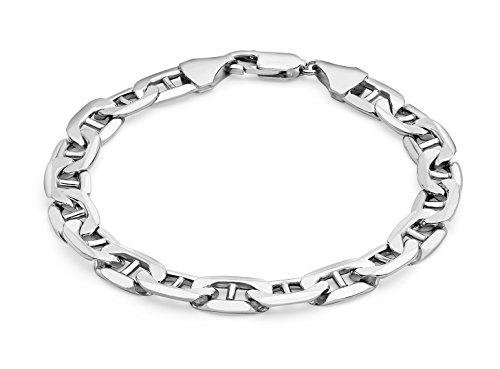 """Carissima Doré Or blanc 9 ct 200 Rambo Bracelet chaîne de 20 cm/8 """""""