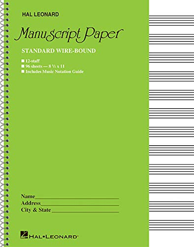 Sheet Music Staff Paper - Standard Wirebound Manuscript Paper (Green Cover)