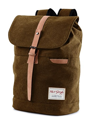 Vintage Canvas Laptop Backpack School College Rucksack Bag (Brown) - 7