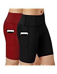 HuaTu Women Performance Compression Shorts with Side Pocket Pack of 2