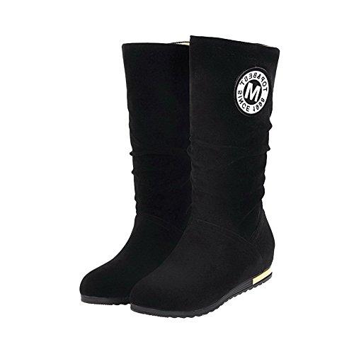 AgooLar Women's Solid Xi Shi Velvet Low-Heels Round-Toe Pull-On Boots Black vXiu4oD