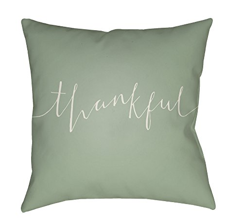 Surya Thankful Script Word Print Outdoor Pillow