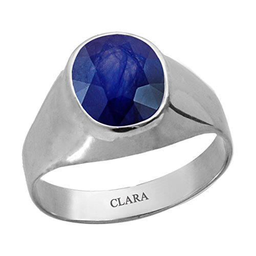 Clara Certified Blue Sapphire (Neelam) 9.3cts or 10.25ratti original stone Sterling Silver Astrological Ring for Men and Women by Clara