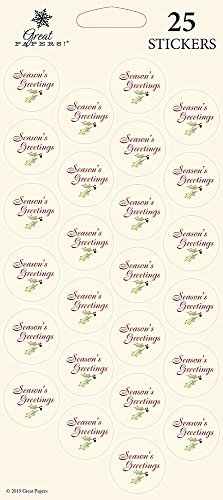 Great Papers! Burgundy Holly Foil Seals, 25 count, 1