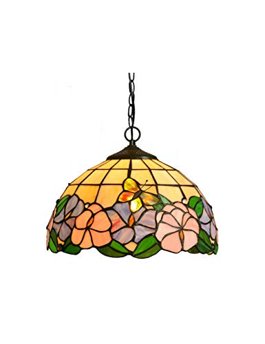 Island Kitchen Glass Lighting Stained - ZYear Stained Glass Chandelier Mini Morning Glory Classic Pendant Lighting for Kitchen Island Wedding Room 12 Inch