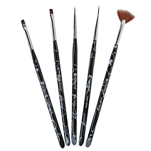 Winstonia Assorted Nail Art Brushes Set with Cuticle Pusher Ends, Acrylic Handles, 'Rose Noire' - Acrylic, Fan, Detailer, Liner Brush (5 pcs)