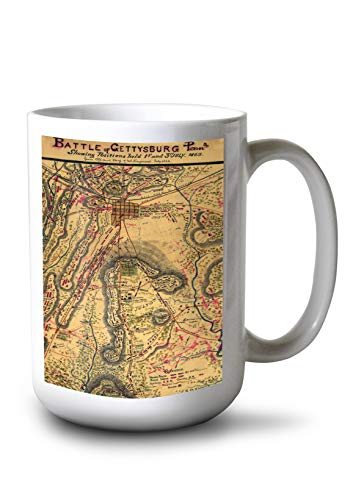 Lantern Press Battle of Gettysburg - Civil War - (1863) - Panoramic Map (15oz White Ceramic Mug)